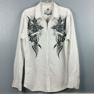 Helix Cotton Graphic Long Sleeve Button Shirt Sz L